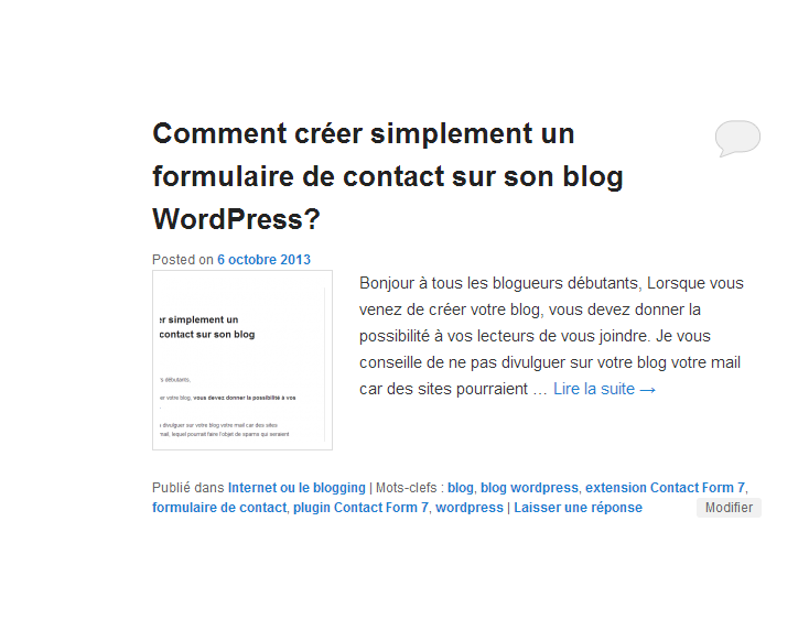 Formulaire de Contact Wordpress