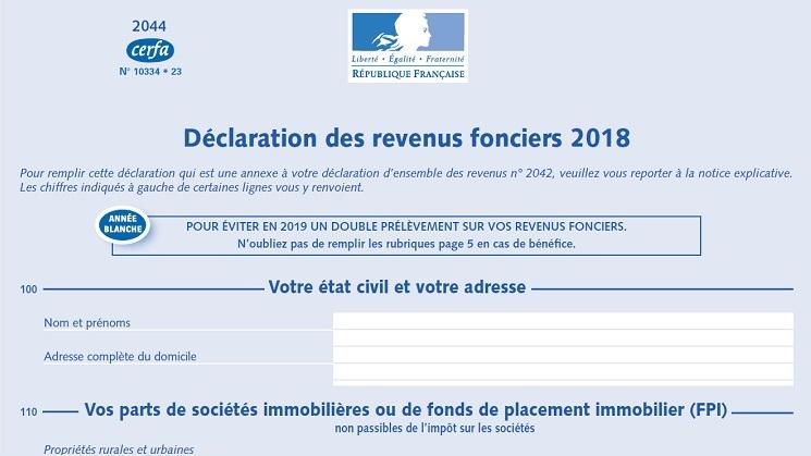 Fiscalité immobilière: Déclaration 2044